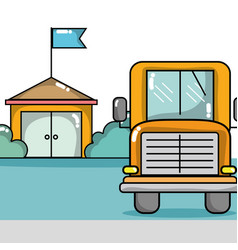 School bus to transport of students vector