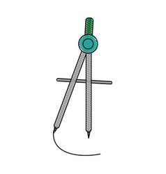 school compass equipment geometry precision vector image