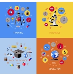 School Flat Icon Set vector image