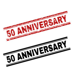 Scratched textured and clean 50 anniversary stamp vector