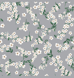 seamless pattern with small white simple flowers vector image
