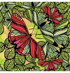 seamless spring pattern butterflies and flowers vector image