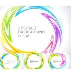 set abstract swirl circle bright background vector image
