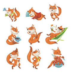 set cute colorful fox character in different vector image