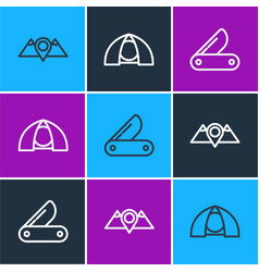 Set line location mountains swiss army knife vector