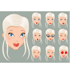 Set of emoticons blondes vector