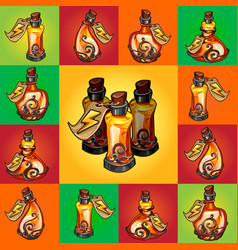 Set of magic potions perfume or essential oil in vector