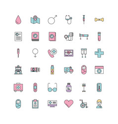 set of medical medicine science theme icons vector image