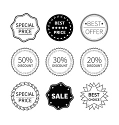 Set of nine black and white retro badges vector
