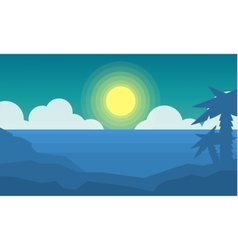Silhouette of beach scenery landscape vector