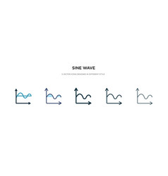 sine wave icon in different style two colored vector image