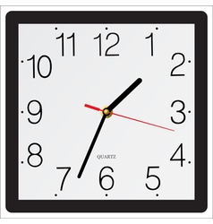 Square simple classic wall clock isolated on white vector
