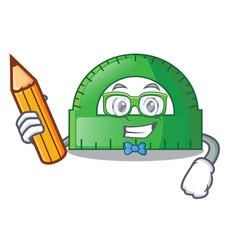 Student protractor in a cartoon bag vector
