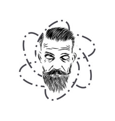 style hair man with beard vintage style vector image