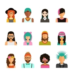 Subculture People Portraits Set vector