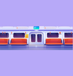 subway train car metro wagon interior vector image