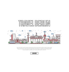 travel berlin poster in linear style vector image