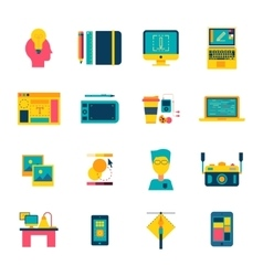Web Design Flat Icons Set vector image