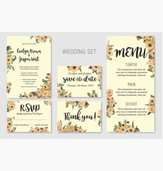 wedding invitation set floral invite thank you vector image