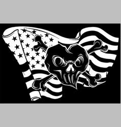 White silhouette skull and flag usa vector