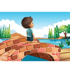 A boy at the bridge vector image vector image