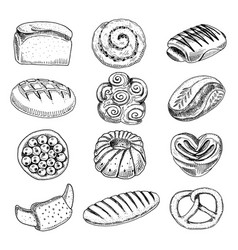 bread and pastry donut long loaf and fruit pie vector image vector image