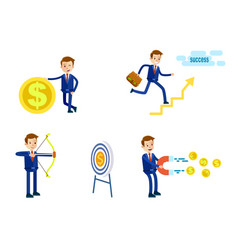 businessman in suit character set vector image