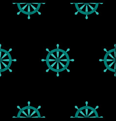 ship steering wheel embroidery seamless pattern vector image