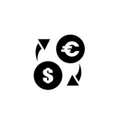 exchange euro and dollar flat icon vector image