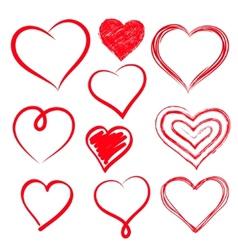 hearts set Hand drawn vector image vector image