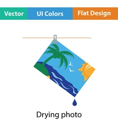 Icon of photograph drying on rope vector image vector image