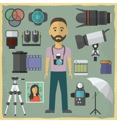Photography character flat design vector