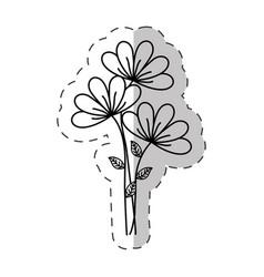 bouquet flower ornament cut line vector image vector image