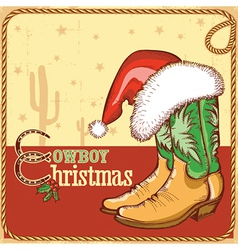 Cowboy christmas card with american boots and vector image vector image