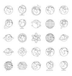 globe earth icons set outline style vector image