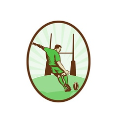 Rugby player kicking ball at goal post vector image vector image
