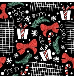 Seamless Holiday hand drawn pattern with gift vector image vector image