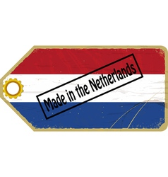 Vintage label with the flag of Netherlands vector image