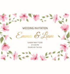 wedding invitation gypsophila flowers border frame vector image vector image