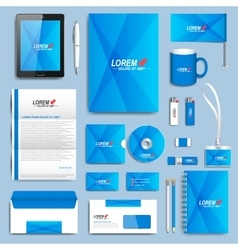 Blue set of corporate identity templates vector image