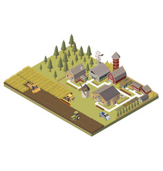 Farm buildings and cultivated fields vector