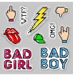Fashion patch badges with lips hat bad boy vector image vector image