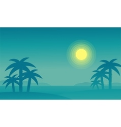 Silhouette of beach and palm at night vector image