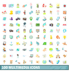 100 multimedia icons set cartoon style vector