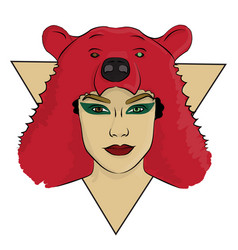 A girl with a bear skin on her head eps 8 vector