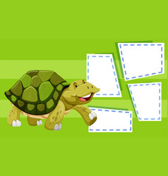 a turtle on note template vector image