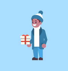 african american man hold gift box present merry vector image
