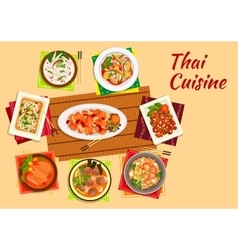 Asian cuisine dinner with thai dishes flat icon vector image