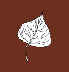 Aspen leaf editable icon sketch hand drawn style vector