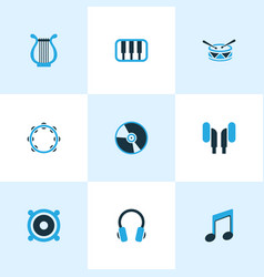 audio icons colored set with music earphone vector image